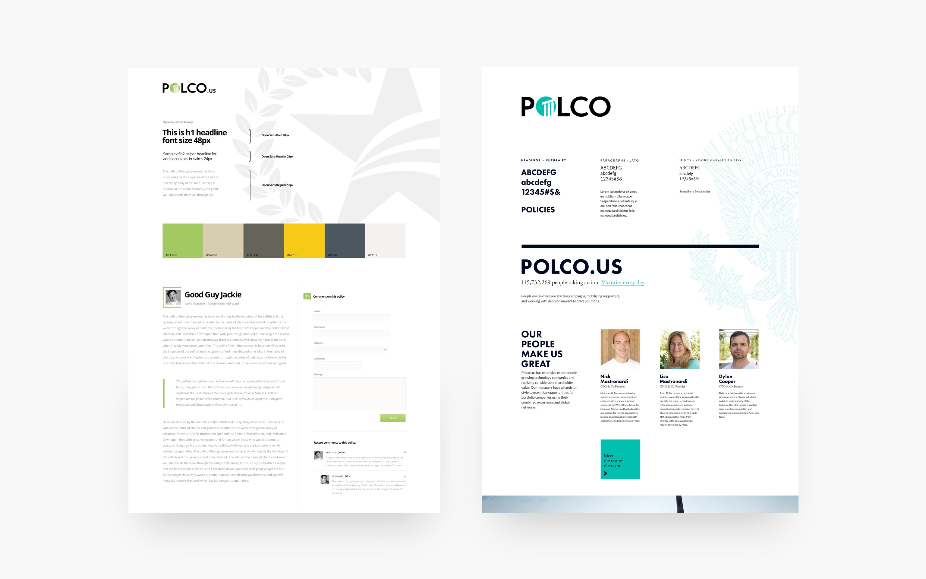 Polco web and mobile app moodboards designed by Boldare web designer